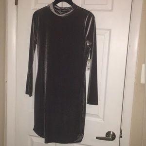 Dresses & Skirts - Sexy dark gray velvet long sleeve mock neck dress